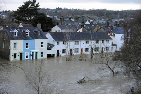 River Derwent breaks its banks, flooding the townof Cockermouth in Cumbria