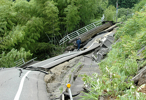 Road destroyed by Japan quake