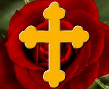 Rosicrucian Rose with gold cross