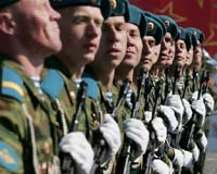 Russian soldiers parade in Red Square