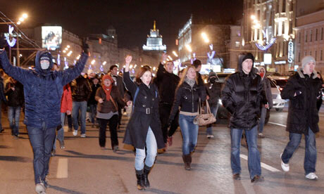Russia's anti-Putin protest movement is beginning to gather momentum. Photograph: Ivan Sekretarev/AP