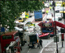 Scotland Yard confirmed one of several reports of explosions on buses in the city