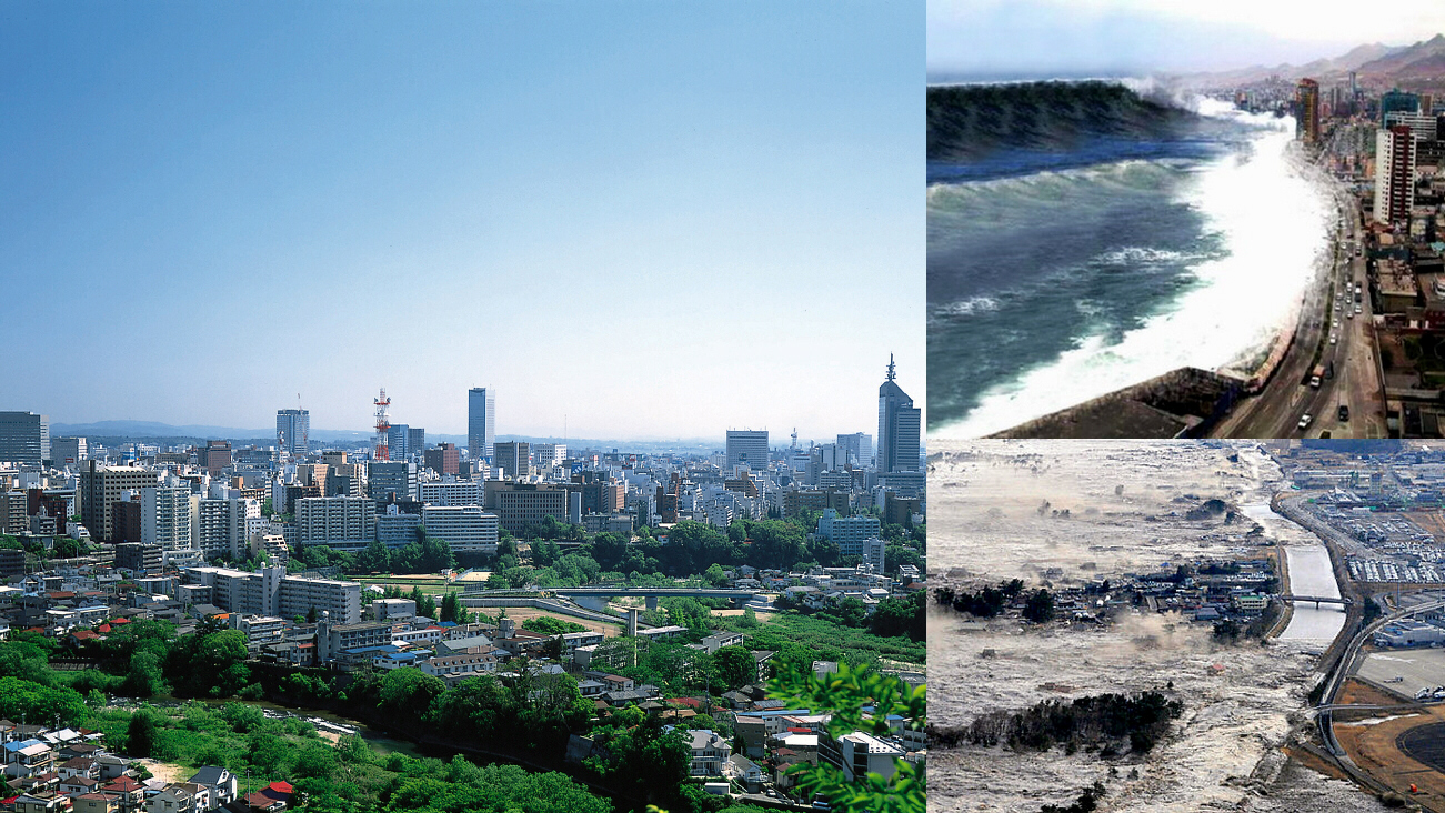 Sendai, city of 1 million, utterly devastated by earthquake and tsunami floods on Martch 11, 2011