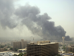 Smoke and dust billow from car bomb in Baghdad