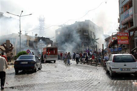 Smoke rises from site of explosion in the Turkish town of Reyhanli