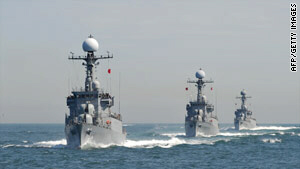 South Korean patrol vessels stage anti-submarine exercise