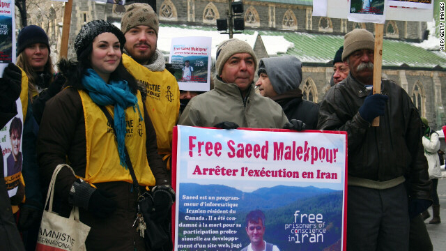 Supporters in Montreal, Canada, demonstrate for release of Saeed Malekpour