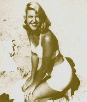 Sylvia Plath posing at beach