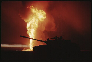 Tank at night when Jordan under attack