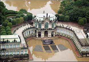 The Zwinger Castle is flooded by the nearby swollen Elbe River.
