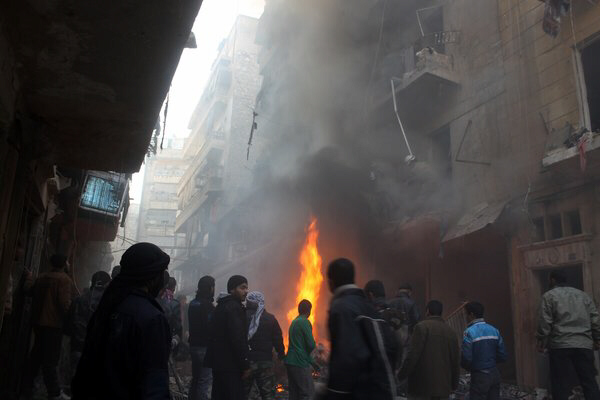 The aftermath of an airstrike on a rebel area of Aleppo