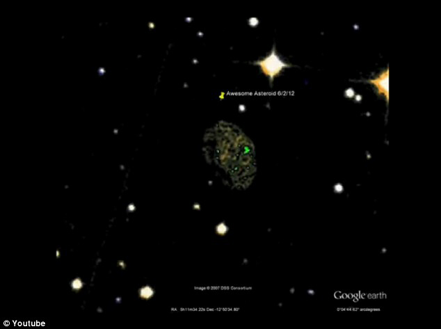 The asteroid was spotted by Google Sky user planetkrejci