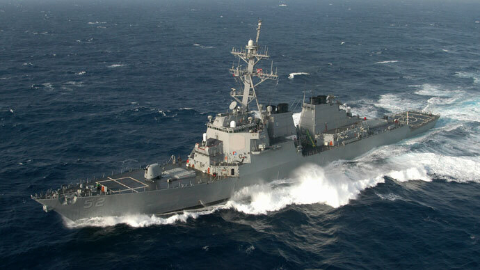 The guided missile destroyer USS Barry