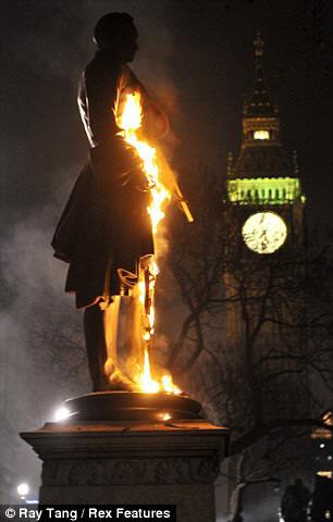 On fire: The statue of Viscount Palmerston was set alight