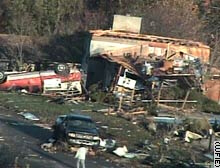 The storm caused extensive damage along the Indiana-Kentucky border