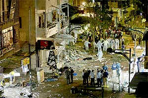 Worst terrorist bombing in Israel of 2003: Two blasts exploded near the old Tel Aviv bus station and a nearby pedestrian mall