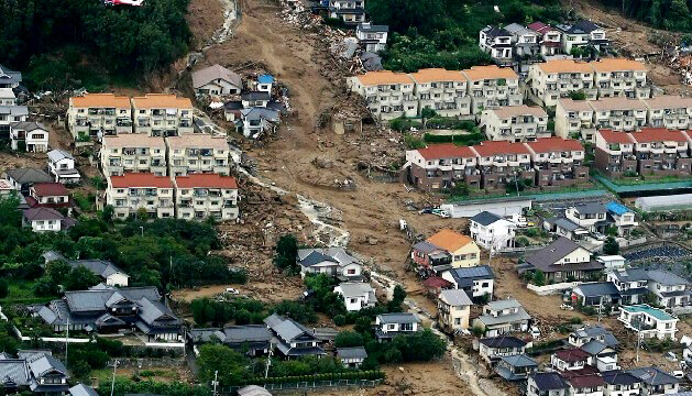 This aerial view shows the damage caused by the landslide in Japan