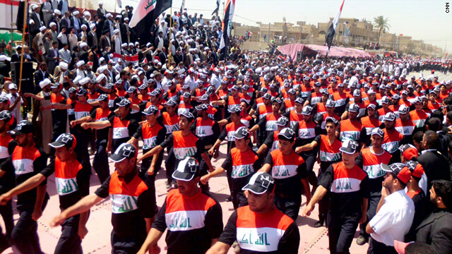 Tens of thousands of followers of Shiite anti-American cleric Muqtada al-Sadr rally in Sadr City in eastern Baghdad Thursday