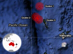 Three major quakes strike South Pacific
