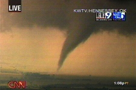Tornado moving through section of Oklahoma