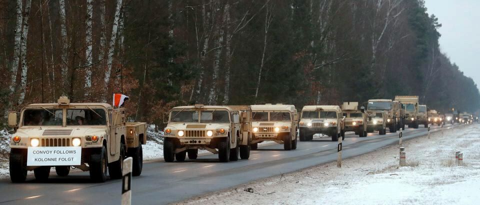 Two convoys of 20 vehicles heading to Poland from Germany