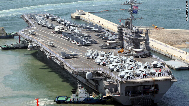 USS George Washington in the South Korean port of Busan. North Korea and China are threatening war if the US-South Korean drills are held over the weekend 7/24-7/25-2010.