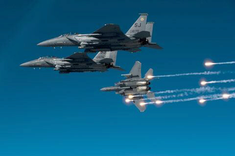 US F-15E Strike Eagles during Nato exercise in Mediterranean Sea