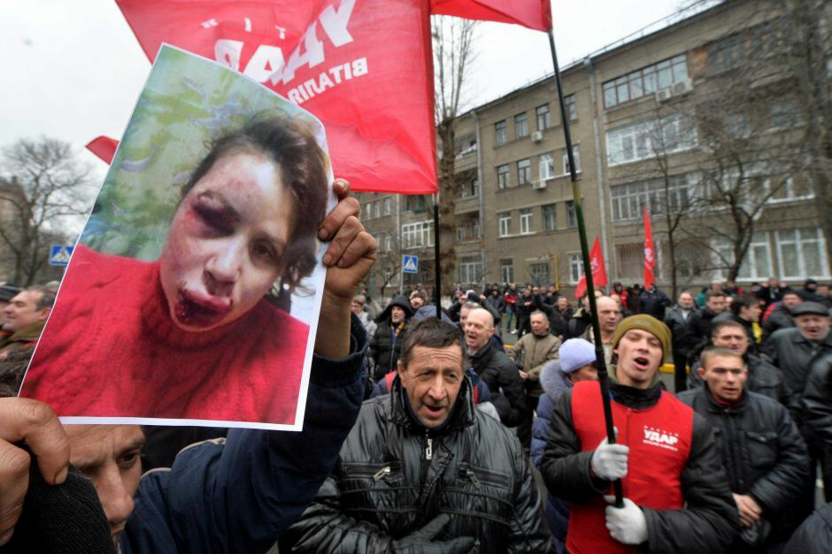 Ukraine protesters rally after attack on journalist Teyana Chornovil
