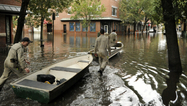Using row boats to help victims from in Hoboken