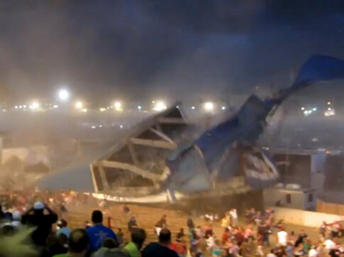 Video shows the stage collapsing Saturday night