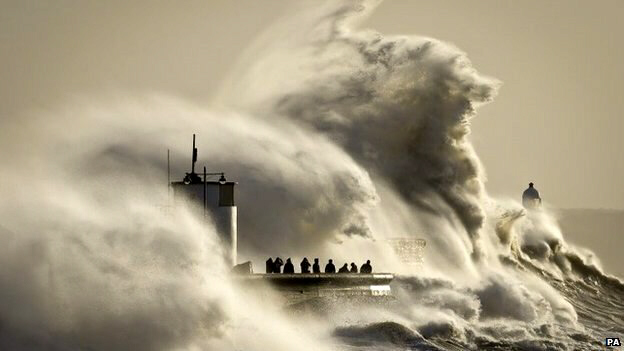 Waves break on Porthcawl harbour, South Wales