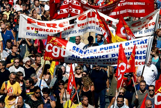Workers demonstrate over pension reforms in Marseilles
