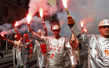 Workers of Arcelor Mittal demonstrate and shout slogans during a demonstration in Marseille Photo: EPA