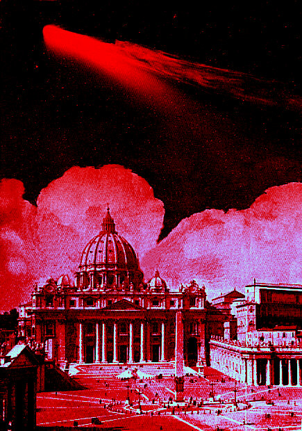 Wormwood, the red comet, appears in the skies of Rome. The Pope will flee to France.