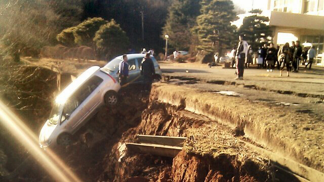 Yabuki - Road collapsed after earthquake