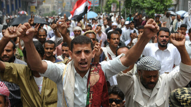 Yemeni protesters take to the streets in the southern city of Taiz