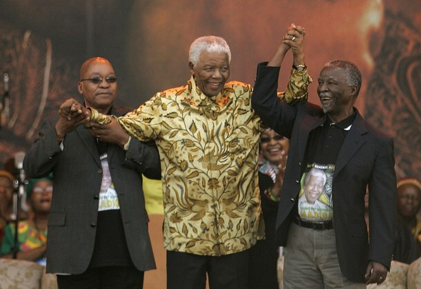 Jacob Zuma, Nelson Mandela, and Thabo Mbeki.